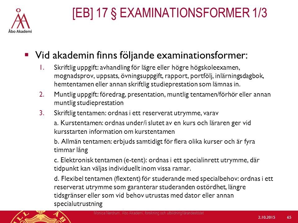 [eb] 17 § Examinationsformer 1/3